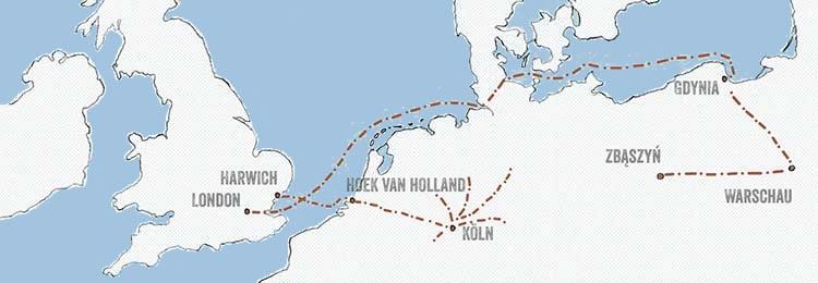Karte mit den Routen der Kindertransporte und der Polenaktion